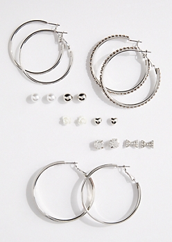 9-Pack Silver Hoop & Mixed Stud Earring Set