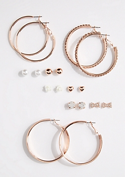9-Pack Rose Gold Hoop & Mixed Stud Earring Set