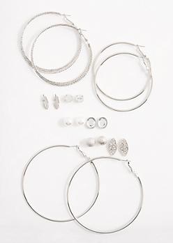 Vegan Pearl Stud & Hoop Earring Set
