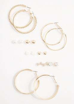 9-Pack Sparkly Hoop & Stud Earring Set