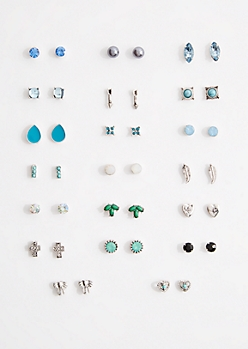 20-Pack Blue Boho Mini Stud Earring Set