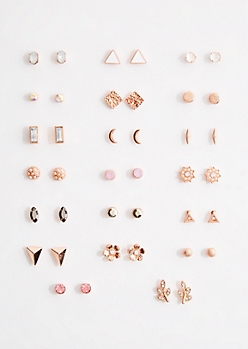 20-Pack Rose Gold Mini Stud Earring Set