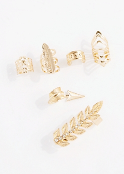 6-Pack Boho Leaf Cuff Earring Set