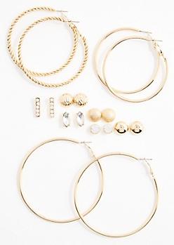 Stone Studded & Hoops Earring Set