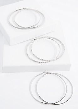 Silver Tone Jumbo Hoop Earring Set