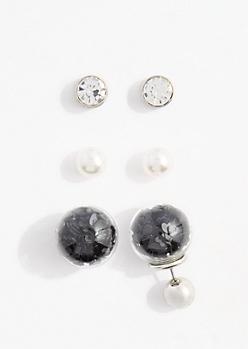 Black Confetti Globe Earring Set