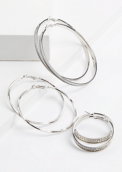 3-Pack Silver Glittering Hoop Earring Set