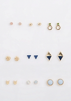 9-Pack Blue Geo Stud Earring Set