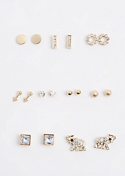 9-Pack Gem Elephant Stud Earring Set