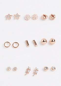 9-Pack Shimmering Star Stud Earring Set