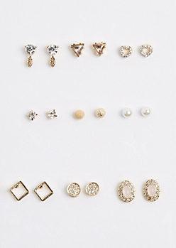 9-Pack Pink Stone Medallion Stud Earring Set