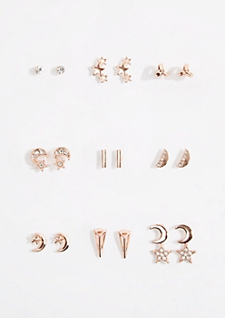 9-Pack Rose Gold Crescent Stud Earring Set
