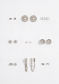 9-Pack Stone Medallion Stud Earring Set