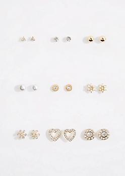 9-Pack Sparkling Heart Stud Earring Set