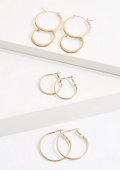 3-Pack Double Hoop Earring Set