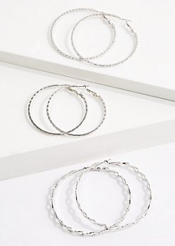3-Pack Geo Silver Hoop Earring Set