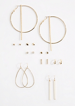 9-Pack Teardrop Hoop & Stud Earring Set