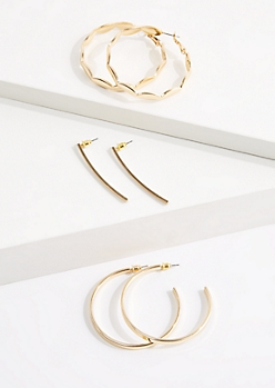 3-Pack Hoop & Drop Earring Set