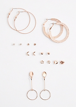 9-Pack Drop Hoop & Stud Earring Set