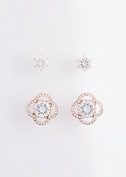 2-Pack Flower Stud Earring Set