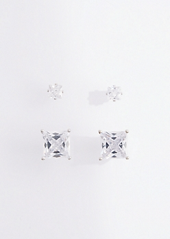 2-Pack Princess Cut Stud Earring Set