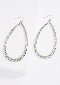 Rhinestone Teardrop Frame Earrings