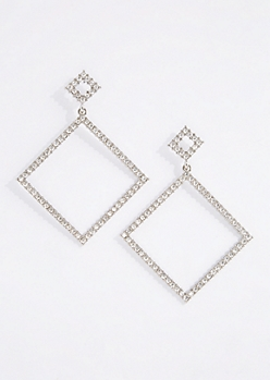 Rhinestone Square Frame Earrings