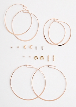 9-Pack Mini Moon & Hoop Earring Set