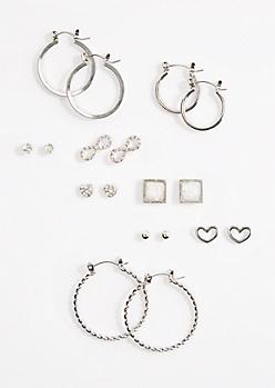 9-Pack Iridescent Stud & Hoop Earrings
