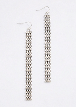 Triple Rhinestone Linear Drop Earrings