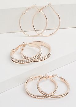 3-Pack Rose Gold Gemstone Hoop Earring Set