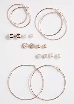 9-Pack Stone Stud & Hoop Earring Set