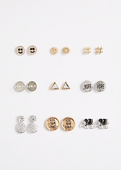9-Pack Pineapple Stud Earring Set