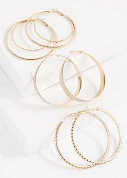 3-Pack Diamond Dust Hoop Earring Set