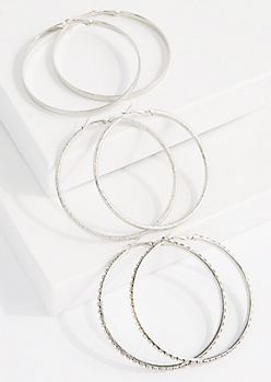 3-Pack Sparkly Oversized Hoop Earring Set