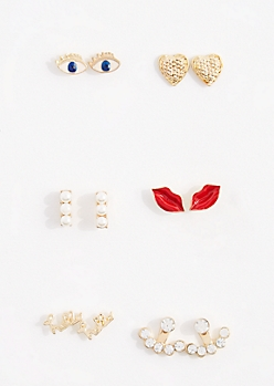 6-Pack Eyes & Lips Enamel Earring Set