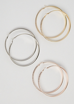 3-Pack Mixed Metal Stone Hoop Earrings