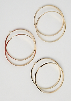 3-Pack Color Stone Hoop Earrings