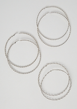 3-Pack Silver Twisted Hoop Earrings