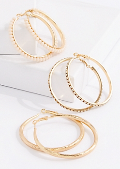 3-Pack Pink Stone Hoop Earring Set