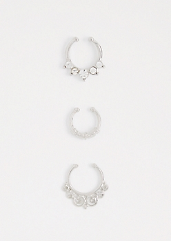 Swirling Faux Nose Ring Trio