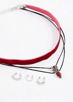 Red Stone Choker & Nose Ring Set