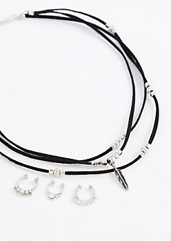 Beaded Choker & Faux Nose Ring Jewelry Set