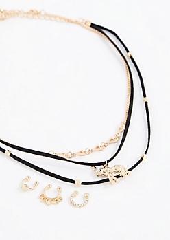 Boho Elephant Choker & Faux Nose Ring Jewelry Set
