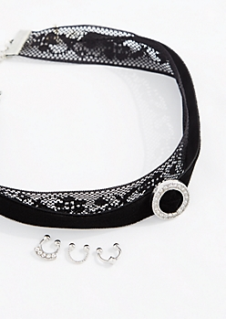 Diamante Choker & Nose Ring Set