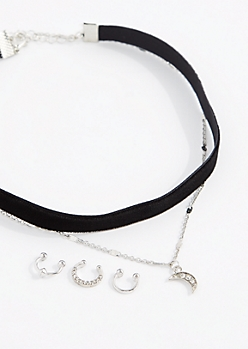 Diamante Moon Choker & Nose Ring Set