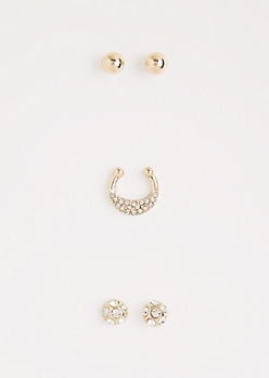 Gold Fireball Faux Nose Ring Jewelry Set