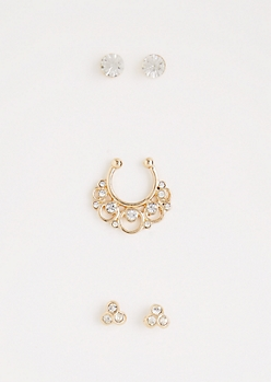 Crystal Ball Faux Nose Ring Jewelry Set