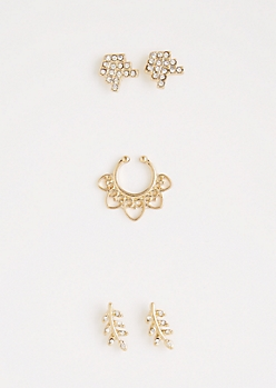 Crystal Leaf Faux Nose Ring Jewelry Set
