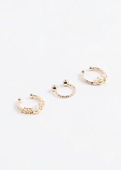 Golden Pearly Faux Septum Trio